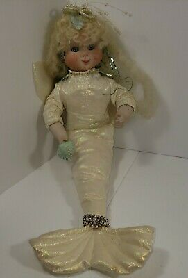 $ CDN12.53 • Buy Vintage Porcelain Doll Mermaid With Pearls And Seashell - White Soft Body