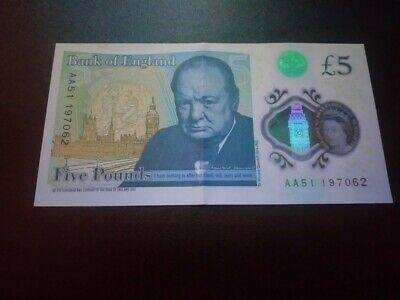 Only Note With Smudge On Queen's Forehead£5 Pound Note Very Rare Low Number AA  • 45£