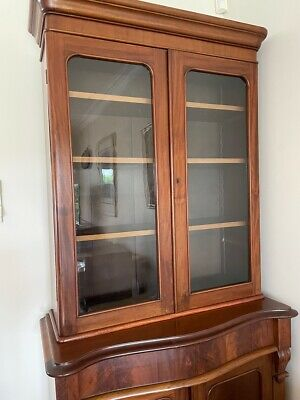 AU540 • Buy ANTIQUE 2 HEIGHT MAHOGANY BOOKCASE DISPLAY STORAGE CABINET Glass-Fronted
