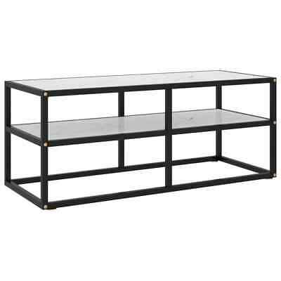 £75.99 • Buy VidaXL TV Cabinet Black With White Marble Glass 100 Cm Stereo Stand Media Unit