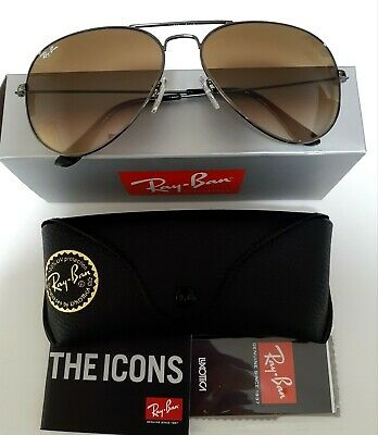 AU99.95 • Buy 62MM Ray-Ban Aviator Gunmetal Frame Brown Gradient Lens Sunglasses 004/51