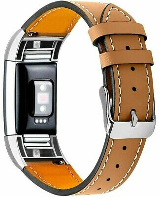 AU25.81 • Buy Fitbit Charge 2 Genuine Leather Strap Replacement Band CLASSIC BROWN Adjustable