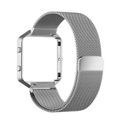 $ CDN20.50 • Buy Silver Fitbit Blaze Metal STRAP With FRAME Magnetic Milanese Band Small Large