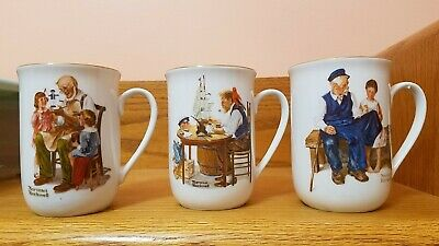 $ CDN3.75 • Buy Vintage 1982 Norman Rockwell Collectible Coffee Cups/Mugs Set Of 3