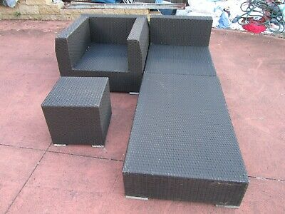 AU79.99 • Buy 4 Pcs Outdoor Furniture Wicker Rattan Lounge Setting,  Good Condition