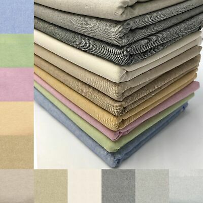 £5.99 • Buy Cotton Linen Look Fabric Plain Coloured Curtain Upholstery Craft Furnishings