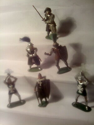 Timpo + Lead Knights. 6 Standing Figures , Spares Or Repair Condition . S.98 • 9.50£