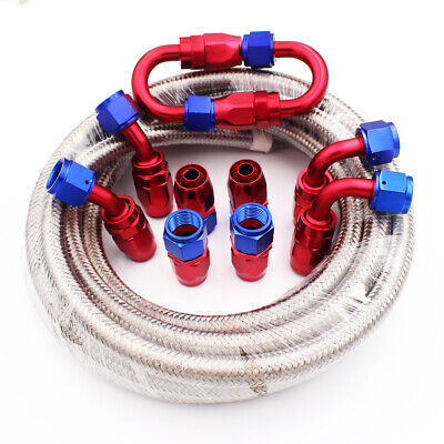 AU72.99 • Buy AN6 -6AN Stainless Steel Braided Fuel Oil Line Fitting Hose End Adaptor 6M