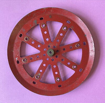 """Vintage Meccano Red Pulley Part 19c - 6.25"""" Diameter Stamped MECCANO • 15£"""