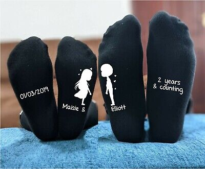 Romantic Cotton Anniversary Gift - His And Hers Personalised Printed Socks  • 11.99£