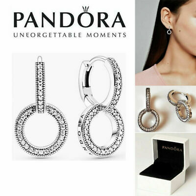 AU21.86 • Buy New Genuine Pandora Silver S925ALE Studs Pavé Double Hoop Earrings With/BAG+BOX