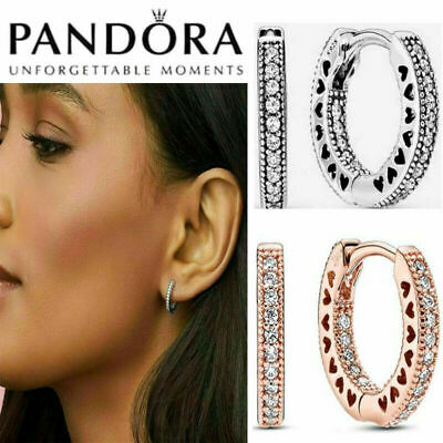 AU18.99 • Buy New Genuine Pandora Hoop Earrings Stub  Sterling Silver Gift Box - 296317CZ AU