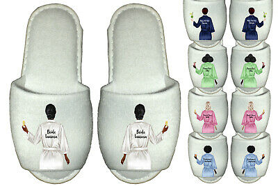 £5.99 • Buy Personalised Bridal Party Spa Slippers Wedding Team Bride Bridesmaid Gowns Robes