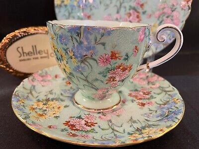 £102.85 • Buy Shelley MELODY CHINTZ FOOTED RIPON CUP, SAUCER AND 7  PLATE - GOLD TRIM