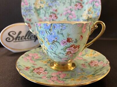 £121.55 • Buy Shelley MELODY CHINTZ FOOTED RIPON CUP, SAUCER AND 8  PLATE - GOLD TRIM