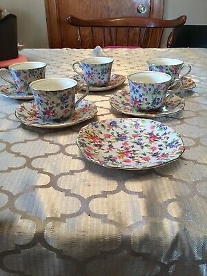 $ CDN180 • Buy Royal Winton Grimwades England Art Deco Old Cottage Chintz Set Of 5 Cup / Saucer