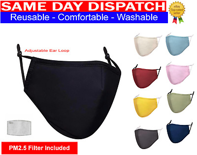 Cotton Face Mask Washable Reusable Breathable With PM2.5 Filter &  Filter Pocket • 2.99£
