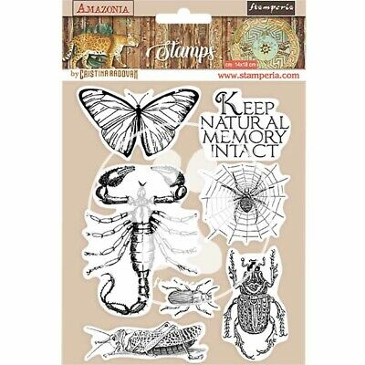 £10.95 • Buy Stamperia Amazonia Butterfly Rubber Stamp Set   NEW