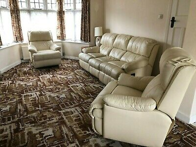 Action Furniture By Lane Leather 3 Piece Suite In Very Good Condition. • 300£