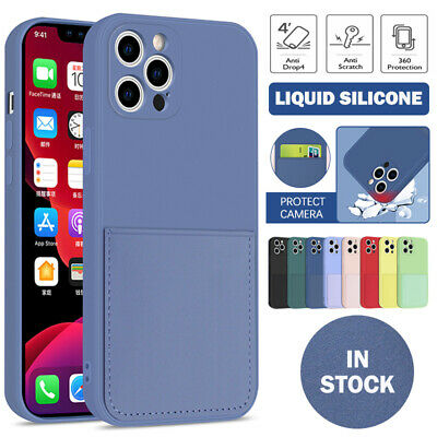 AU12.99 • Buy For IPhone 12 11 Pro Max SE 8 7 Plus XR XS Case Liquid Silicone Card Slot Cover