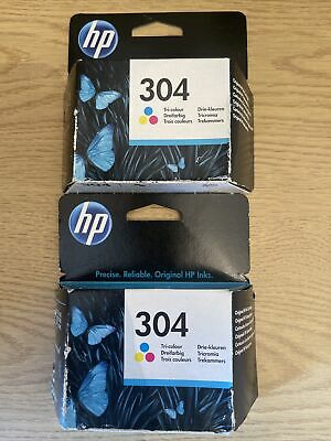 2x Genuine HP 304 Tri-Colour Ink Cartridges Brand New Expires May 2022. • 10.50£