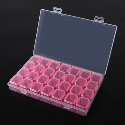 £5.29 • Buy 28 Compartment Plastic Storage Box Jewellery Earring Beads Case Container(Pink)