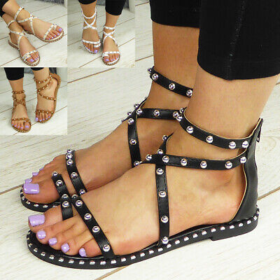 £12.90 • Buy Ladies Gladiator Sandals Shoes Flats Toe Post Strappy Womens Summer Comfy Size