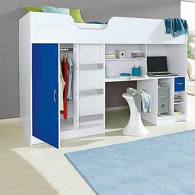 £263.98 • Buy New Cabin Bed Childrens Single Bed High Sleeper White And Blue R140w/blu