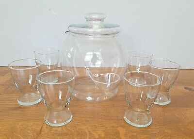 £35 • Buy Glass Punch Bowl Set With Lid, Ladle And 6 Glasses