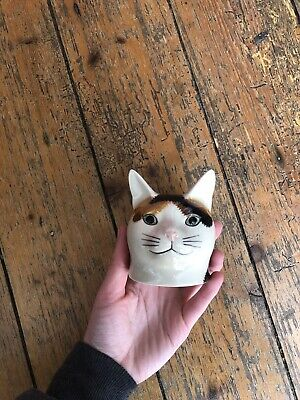 £6.50 • Buy Cat Head Egg Cup Tabby Cat Egg Cup Quail Pottery
