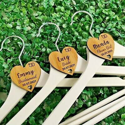 £1.85 • Buy Personalised Wedding Hanger Tags, Party Wooden Heart Laser Engraved Coat Bride