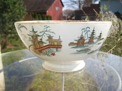 $32.97 • Buy Antique Maastricht Transferware  Hong  Footed Centerpiece Bowl Holland 9 3/4