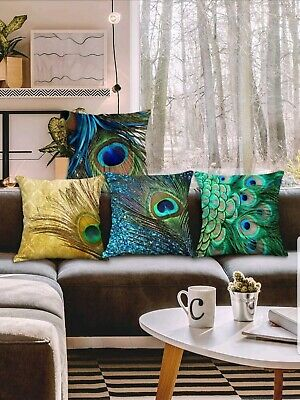 £4.74 • Buy Colorful Peacock Feather Pillow Case Cushion Cover For Sofa,Couch, Bedroom,45x45
