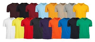 $8.36 • Buy Men's V Neck T Shirts 100% Cotton Premium Heavy Weight Short Sleeve Solid Colors