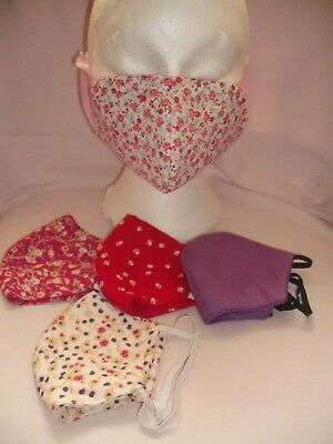 3x Handmade Face Masks Reversible  Breathable  Reusable Multi Pack Of 3x 4 Ply • 10£
