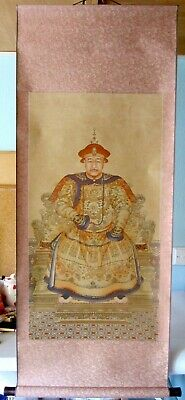 Large Hand Finished Emperor Yong Zhen Oriental Chinese Scroll Wall Hanging • 28£