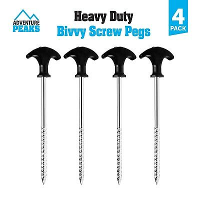 £8.95 • Buy Heavy Duty Bivvy Tent Camping Screw Pegs Ground Sheet Stakes Fishing