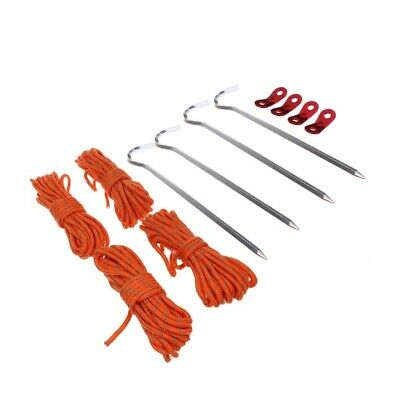 AU11.50 • Buy TENT ACCESSORIES SET Reflective Rope/Tent Pegs/Guy Line Tensioner W/ Bag
