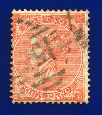 £7.35 • Buy 1862 SG82 4d Pale Red (Hair Lines) J53(2) CD Misperf Cookstown Used C.£150 Dfab