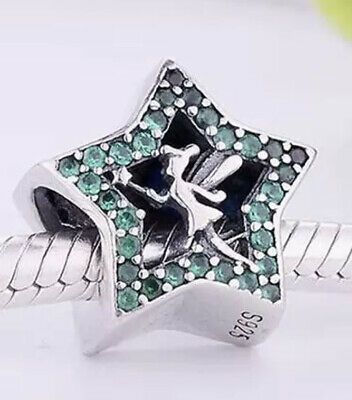 £13.99 • Buy 🦋💜 Sterling Silver 925 Disney Tinkerbell Green Star Charm &gift Pouch