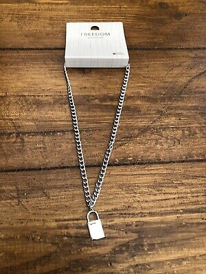 AU3.60 • Buy Topshop Freedom Silver Pad Lock Chain Unwanted Xmas Gift