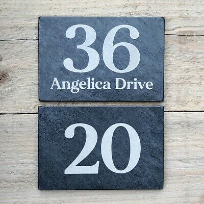 £6.99 • Buy Slate House Number Door Or Road Name Sign Personalised Engraved Natural Stone