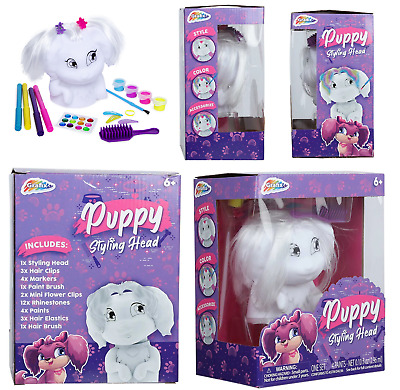 Puppy Hair Styling Head With Accessories Kids Girls Hairstyling Doll Toy Playset • 7.45£