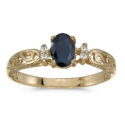 AU565.60 • Buy 14k Yellow Gold Oval Sapphire And Diamond Filagree Ring