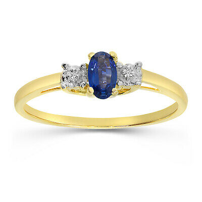 AU405.20 • Buy 10k Yellow Gold Oval Sapphire And Diamond Ring