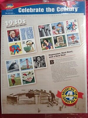 """AU8 • Buy USA Stamps 1998: """"Celebrate The Century"""" 1930's: 4 Of 10: MUH Sheet."""