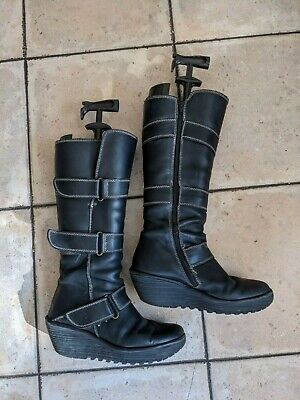 Black Wedge Biker Boots From Fly London, Size 7 (40) • 25£