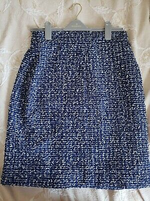£191.16 • Buy Chanel Beautiful Blue White Fantasy Textured Tweed Boucle Skirt MB252 44 France