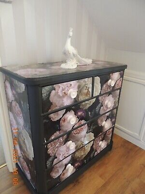 Upcycled Chest Of Five Drawers Decoupaged With Peonies Paper • 145£