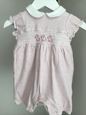John Lewis Baby Girls Romper Playsuit Easter Bunny Outfit Pink Ditsy - 0-3 Month • 2.95£